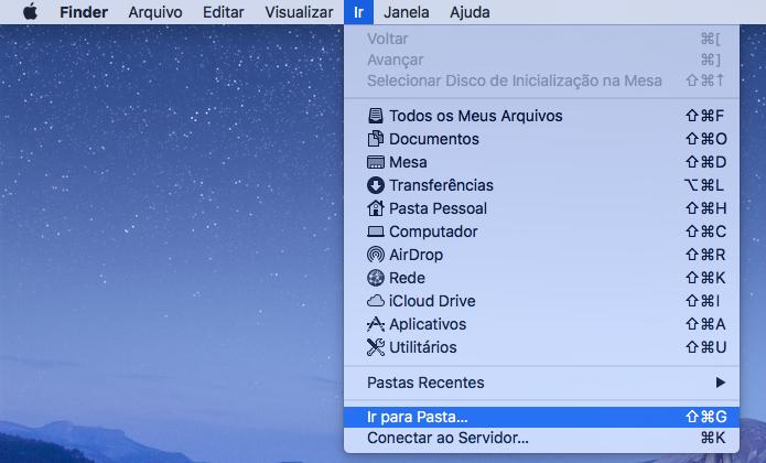 Acesse o menu do Finder e abra a opção indicada (Foto: Reprodução/Helito Bijora)