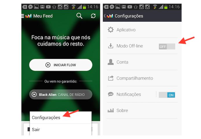 Ativando o modo offline do Deezer em um dispositivo Android (Foto: Reprodução/Marvin Costa)