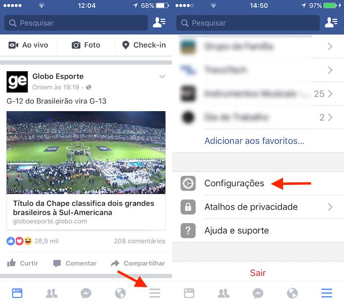 Caminho para acessar as configurações do Facebook no celular (Foto: Reprodução/Marvin Costa)