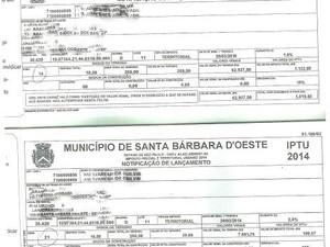 Faturas do IPTU mostram diferença de quase 500% nas cobranças em Santa Bárbara (Foto: Arquivo pessoal)
