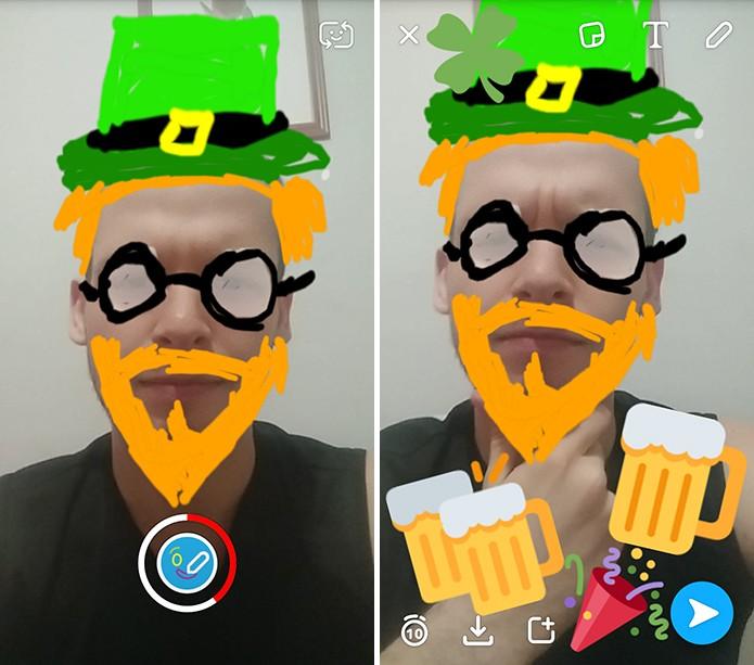 Usuário pode fotografar, gravar e adicionar adesivos e emojis antes de enviar para amigos (Foto: Reprodução/Elson de Souza)
