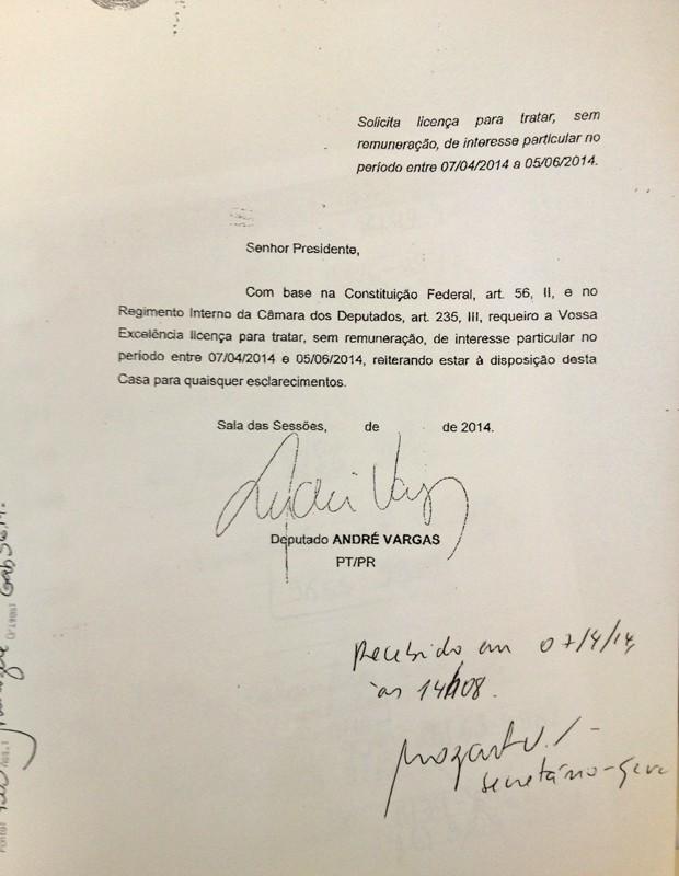 A carta em que o deputado André Vargas (PT-PR) pede afastamento (Foto: Reprodução)