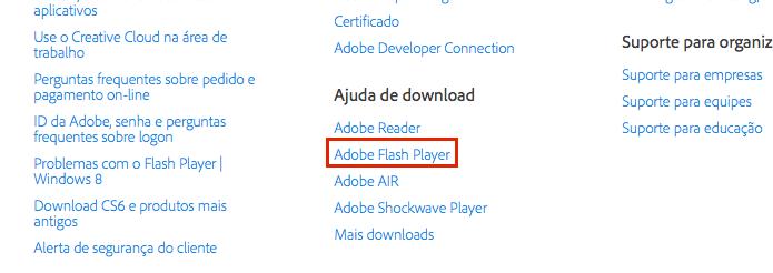 Clicando no link de suporte do Adobe Flash Player (Foto: Reprodução/Edivaldo Brito)