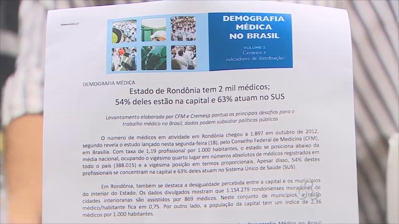 Dados da demografia médica no Brasil (Foto: Amazônia TV)