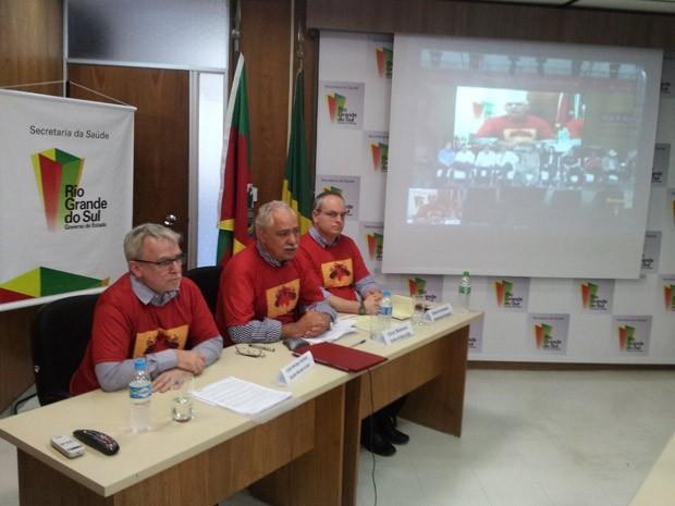 Porto Alegre se conectou com o Rio de Janeiro em videoconferência (Foto: Josmar Leite/RBS TV)