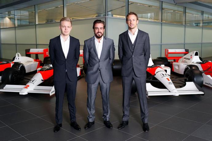 Fernando Alonso e Jenson Button serão titulares da McLaren, e Kevin Magnussen, reserva (Foto: Divulgação)