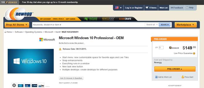 Novo Windows deve ser lançado no final de agosto, segundo loja (Foto: Reprodução/Newegg)