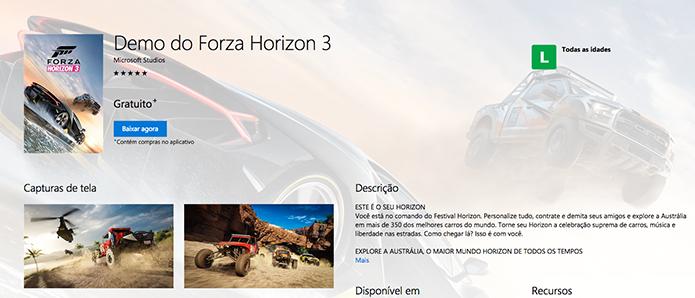 Inicie o download do demo do Forza Horizon 3 (Foto: Reprodução/Murilo Molina)