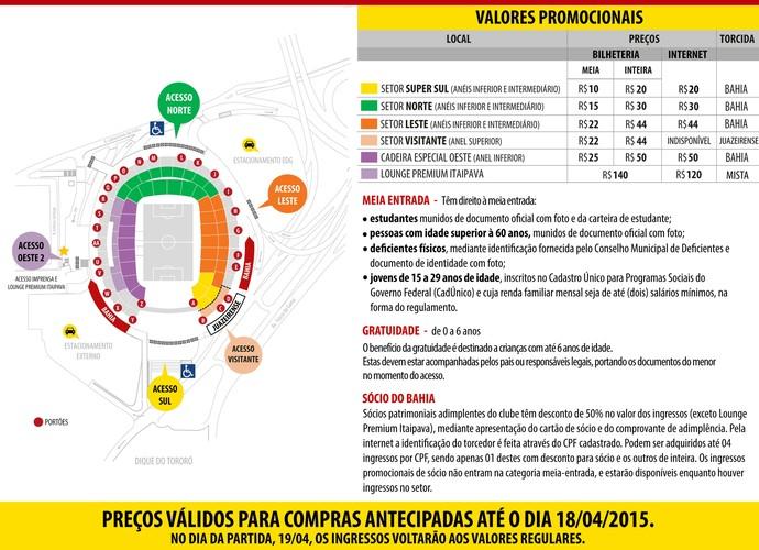 Bahia x Juazeirense: mapa de assentos da Fonte Nova (Foto: Reprodução)