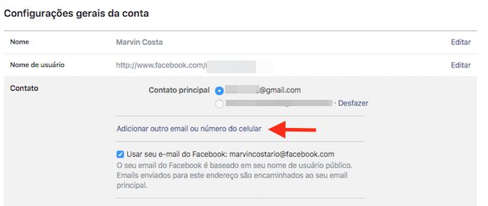 Acessando a ferramenta para adicionar um novo e-mail em uma conta do Facebook (Foto: Reprodução/Marvin Costa) (Foto: Acessando a ferramenta para adicionar um novo e-mail em uma conta do Facebook (Foto: Reprodução/Marvin Costa))