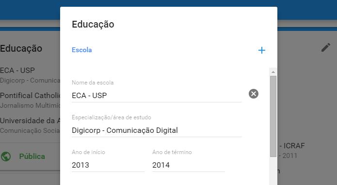 Edite, adicione ou exclua seu histórico acadêmico (Foto: Reprodução/Paulo Alves)