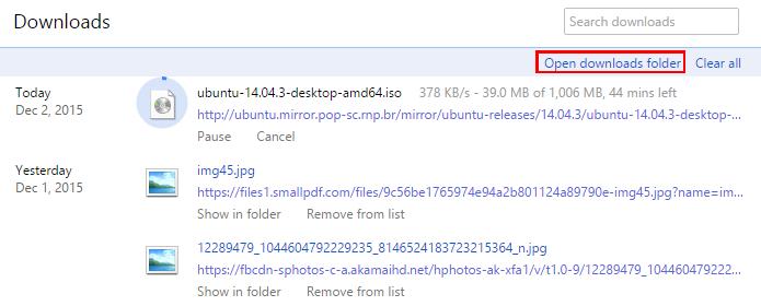Pasta de downloads pode ser aberta diretamente no navegador (Foto: Reprodução/Chrome)