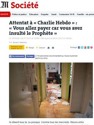 Le Monde mostra foto do interior da sede da Charlie Hebdo após o ataque (Foto: Reprodução/Le Monde)