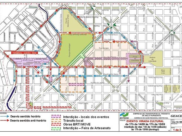 Mapa mostra as alterações de trânsito que a BHTrans irá realizar para Virada Cultural de Belo Horizonte.