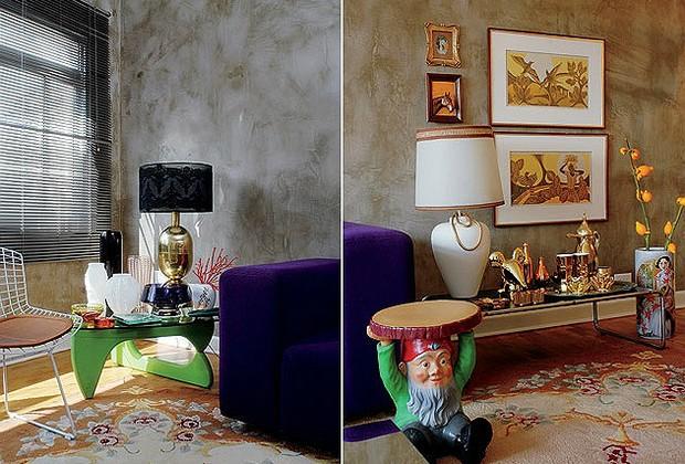 """As paredes receberam acabamento que lembra concreto – ideia do arquiteto Rodrigo Angulo. A base de madeira da mesa Nogushi foi pintada de verde pelo morador. """"Já que não era uma peça original, achei interessante brincar com ela"""", disse. A coleção de vasos (Foto: Casa e Jardim)"""