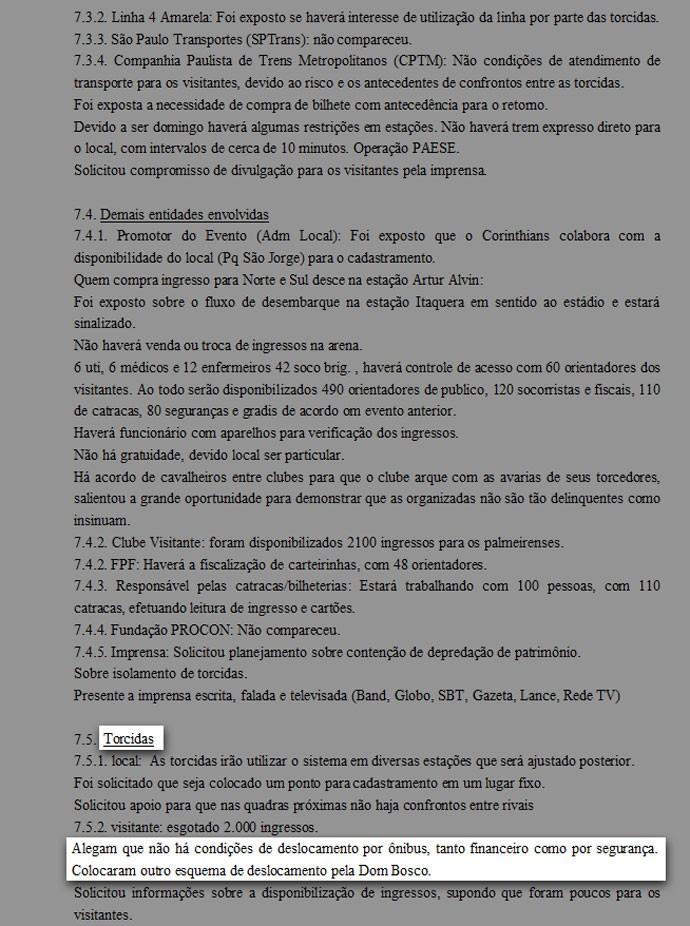 Documento Policia Corinthians x Palmeiras (Foto: Divulgação)