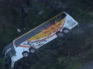 Ônibus tombou às margens da rodovia (Foto: Reprodução/RBS TV)