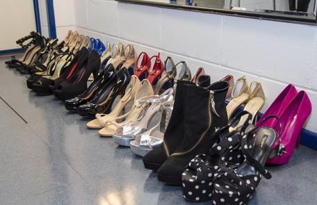 Os sapatos usados pela apresentadora no SuperStar: muito salto alto Ellen Soares/ TV Globo