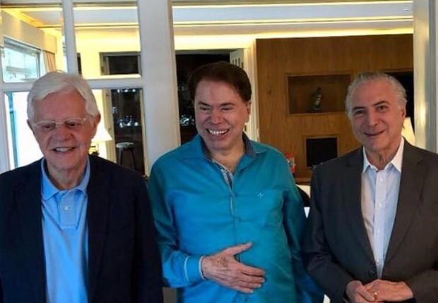 Moreira Franco publicou foto com Temer e Silvio no Twitter (Foto: Reprodução/Twitter)