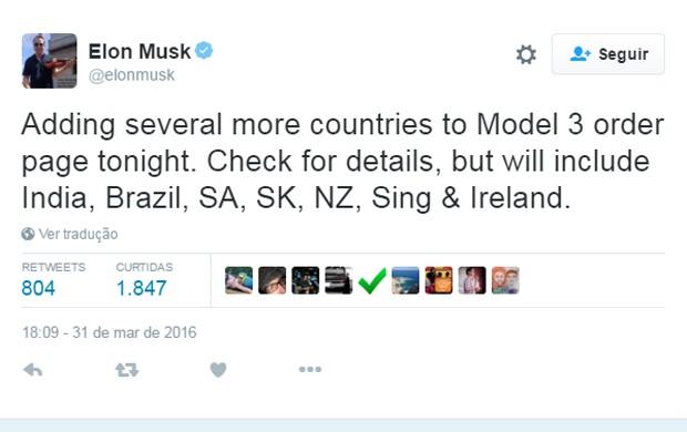Tweet do CEO da Tesla, Elon Musk, sobre a venda do Model 3 no Brasil (Foto: Reprodução / Twitter)