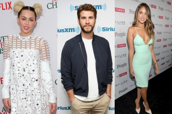 Miley Cyrus, Liam Hemsworth e Eiza Gonzalez (Foto: Getty Images)