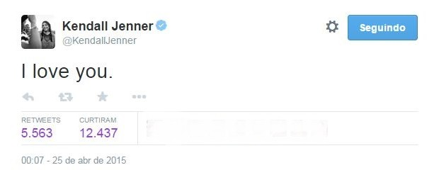 Kendall Jenner no Twitter (Foto: Reprodução/Twitter)