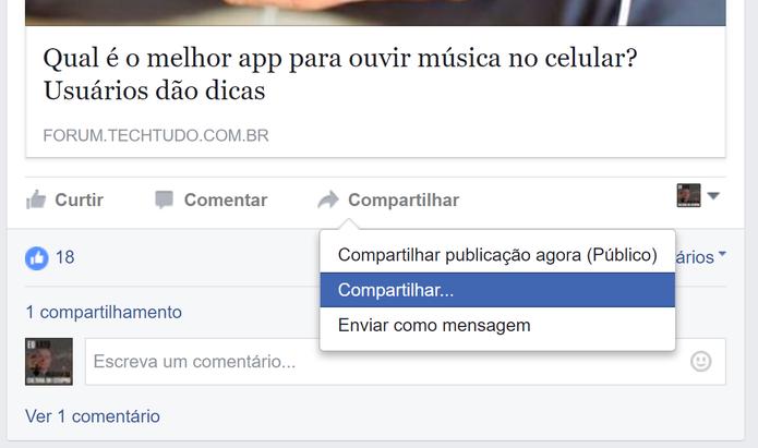 Facebook possui mais opções de compartilhamento que Hello (Foto: Reprodução/Elson de Souza)