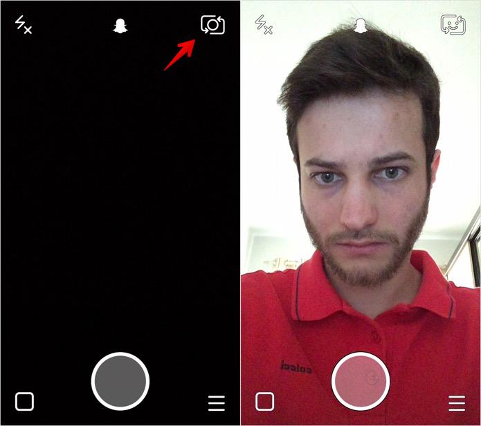 Ative a câmera frontal do seu smartphone (Foto: Reprodução/Helito Bijora)
