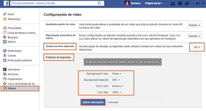Ative e personalize a exibição de legendas nos vídeos do Facebook (Foto: Reprodução/Barbara Mannara)