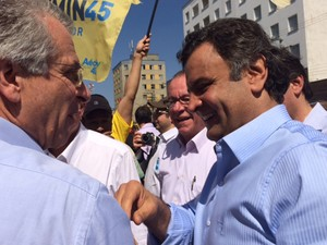 Aécio Neves participou de ato de campanha em São Paulo (Foto: Amanda Previdelli/G1)