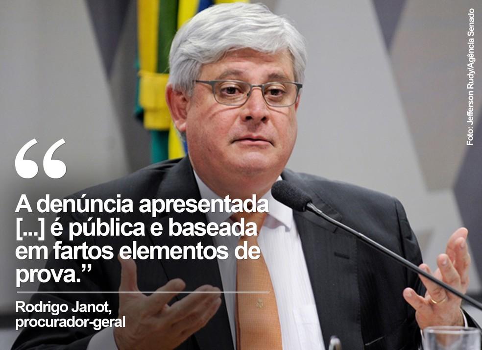 O procurador-geral, Rodrigo Janot, sobre a denúncia contra Temer (Foto: Jefferson Rudy/Agência Senado)