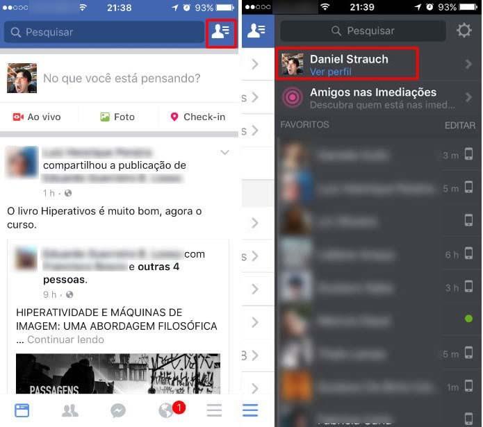 Selecione os comandos em destaque nas imagens para acessar o seu perfil (Foto: Reprodução/Daniel Ribeiro)