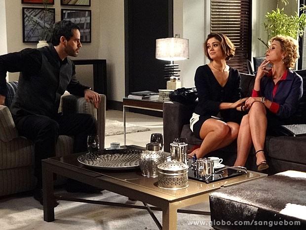 Amora explica seu plano para Natan e Bárbara Ellen (Foto: Sangue Bom / TV Globo)