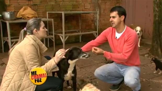Grazi Batista foi conhecer o Jorge Soares, que cuida de 50 cachorros  (Foto: Reprodução/RPC)