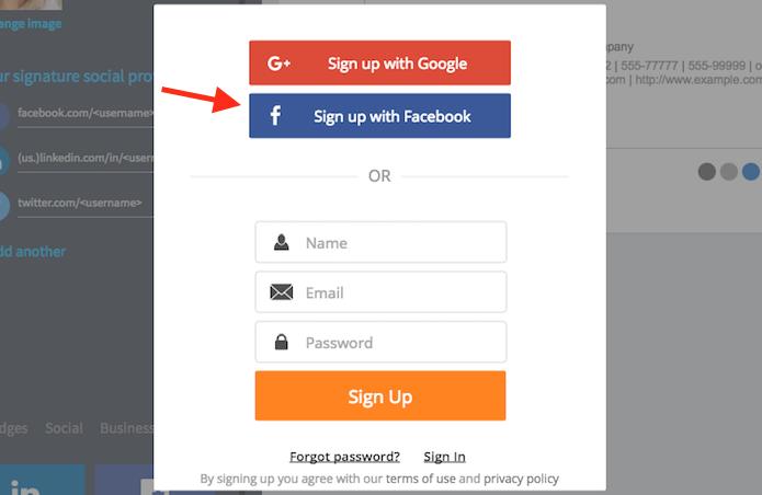 Opções de login na extensão WiseStamp do Google Chrome (Foto: Reprodução/Marvin Costa)