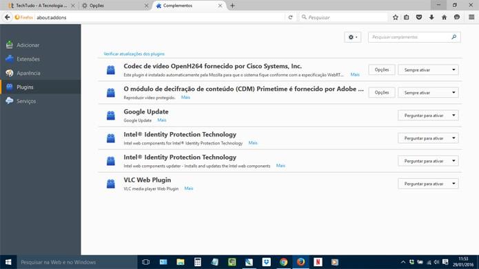 Desative plugins desnecessários nas configurações do browser (Foto: Reprodução)