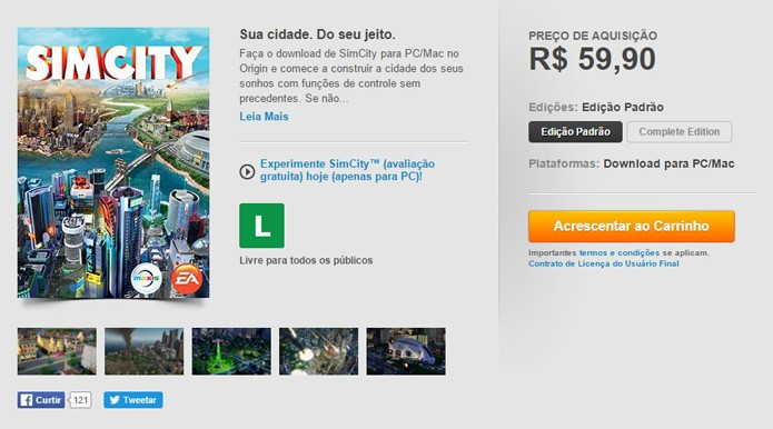 Página de SimCity no Origin (Foto: Reprodução/André Mello)