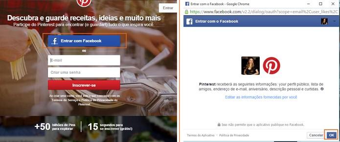 Crie uma conta no Pinterest usando a conta do Facebook (Foto: Reprodução/Barbara Mannara)