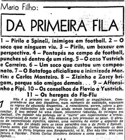 """Confira parte da coluna de Mário Filho em """"O Globo"""" (Foto: Reprodução/O Globo)"""