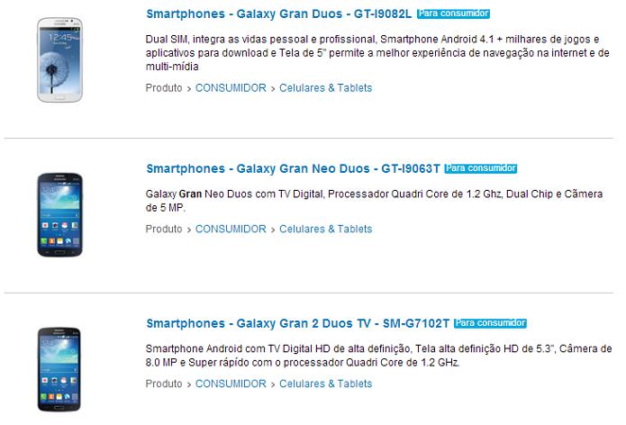 Linha Gran tem três modelos no site da Samsung (Foto: Reprodução/Aline Jesus)