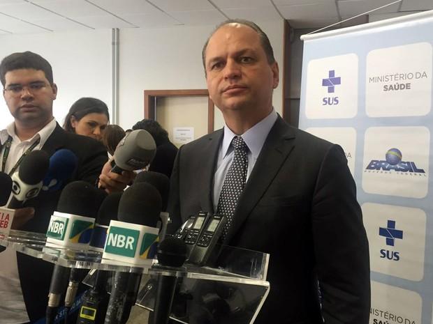 O ministro da Saúde, Ricardo Barros, durante entrevista nesta quarta-feira (29) em Brasília (Foto: Gabriel Luiz/G1)