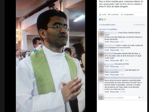 Padre indiano morre afogado em lago durante confraternização de Mosteiro (Foto: Reprodução/Facebook)