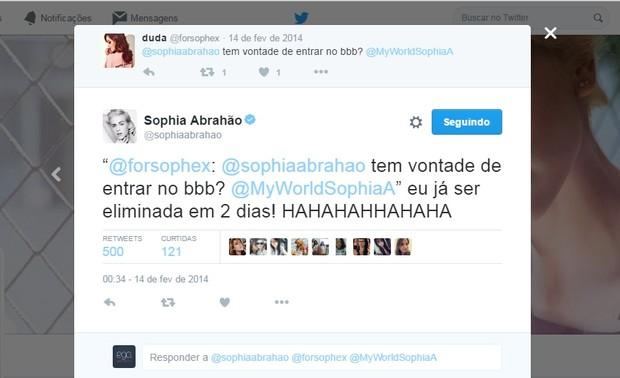 @sophiaabrahao (Foto: Reprodução/Twitter)