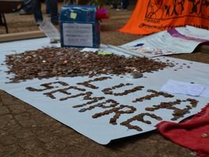 Ato contra a condenação do radialista Jerry de Oliveira em Campinas (SP) (Foto: Marina Ortiz/ G1)