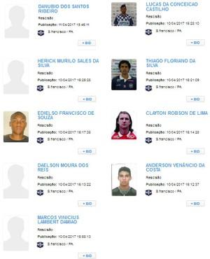 Jogadores dispensados pelo São Francisco tem contratos rescididos (Foto: Reprodução/CBF)