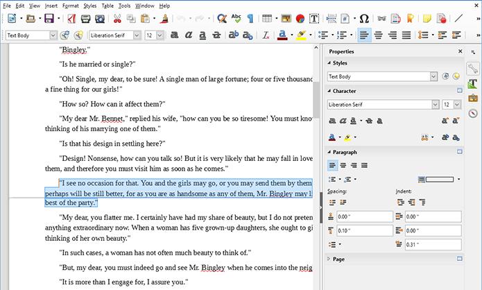Menu lateral do LibreOffice torna edição mais simplificada (Foto: Divulgação)