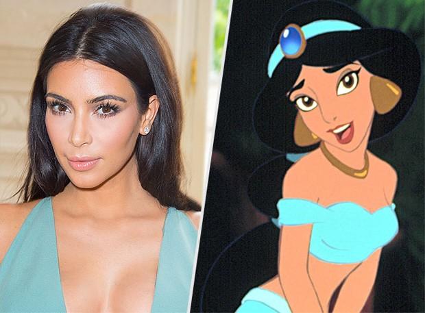 Kim Kardashian e Jasmine de 'Alladin' (Foto: Reprodução/People)