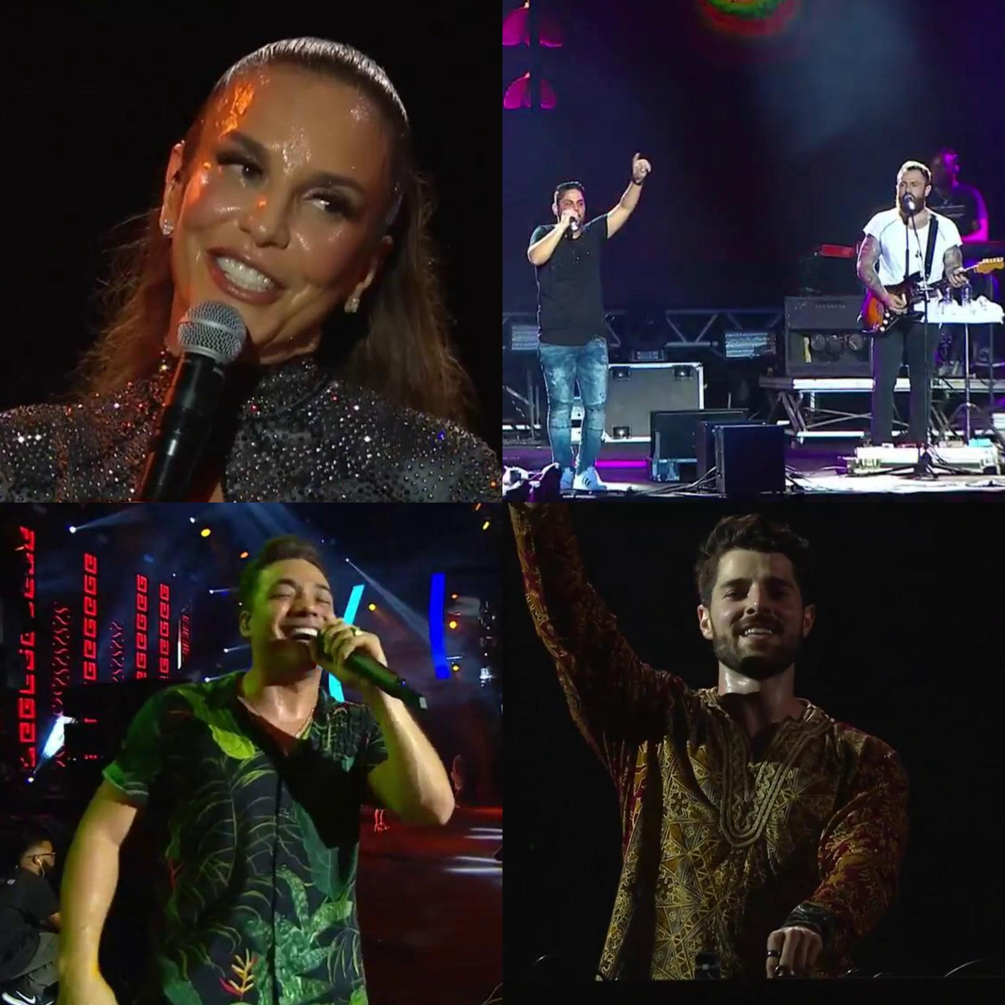 Ivete Sangalo, Jorge e Mateus, Wesley Safado e Alok no domingo (09) (Foto: Divulgao/ Multishow)