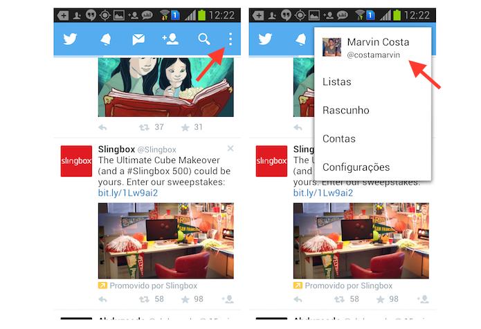 Acessando as configurações de perfil do Twitter para Android (Foto: Reprodução/Marvin Costa)