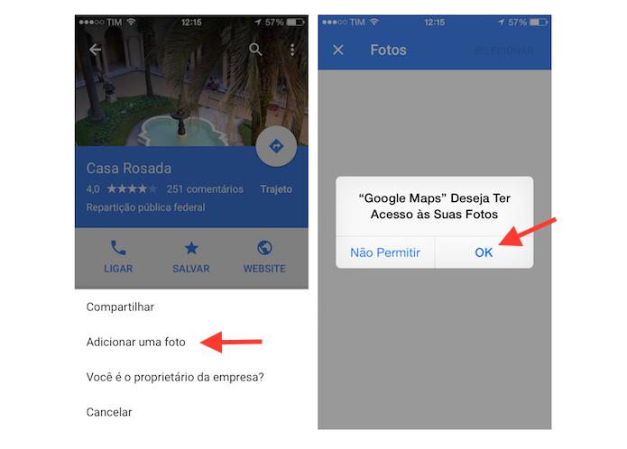 Permitindo que o Google Maps acesse a biblioteca de imagens do iPhone (Foto: Reprodução/Marvin Costa)